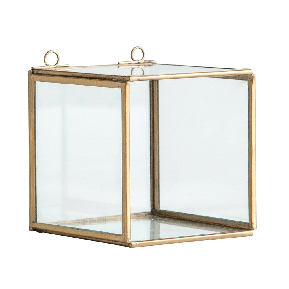 Glass Shadow Box w/ Brass Frame (Hangs or Sits)
