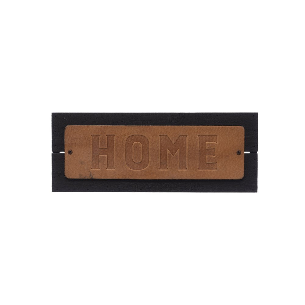 "Embossed Leather & Metal Wall Decor ""Home"""
