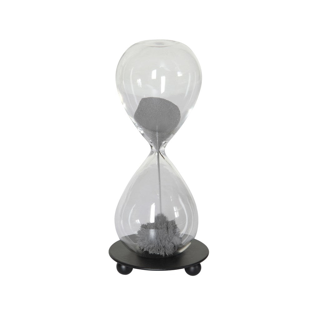 Decorative Glass Magnetic Hourglass w/ Grey Sand