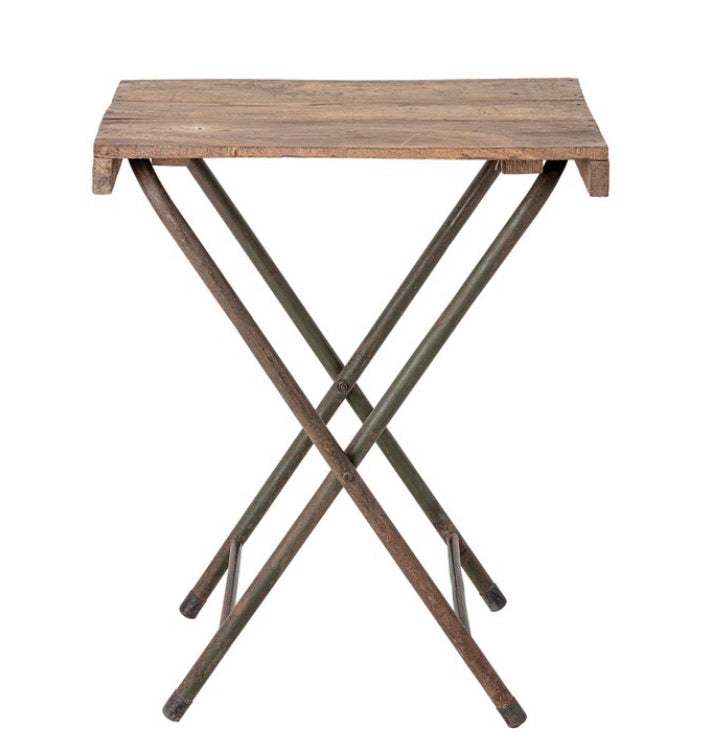 Found Wood Folding Table with Metal Legs, KD (Each Varies)
