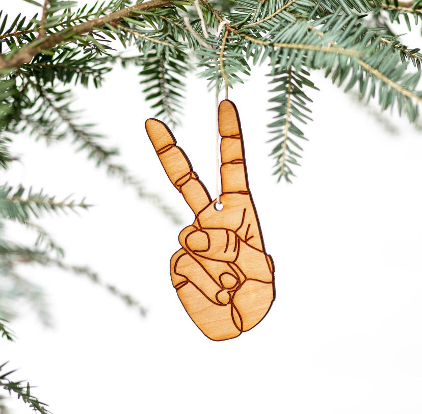 Peace Etched Wood Ornament