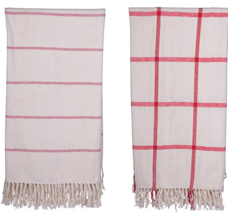 Brushed Cotton Throw w/ Pattern & Fringe, Red & Cream Color, 2 Styles