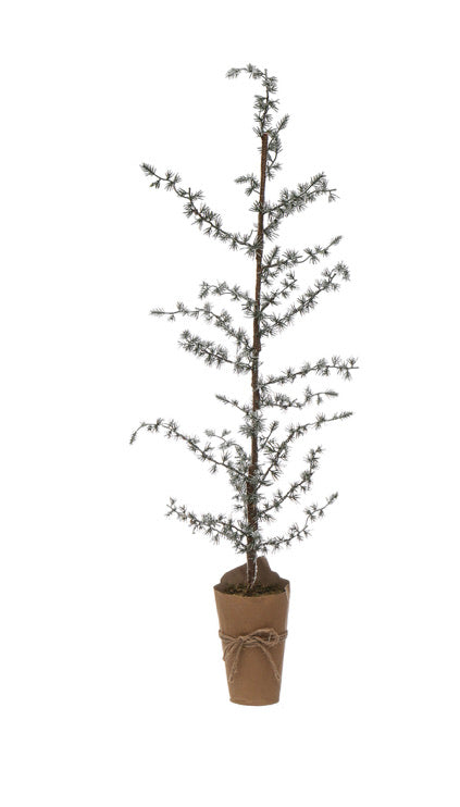 Faux Atlas Cedar Tree w/ Snow In Wrapped Paper Pot