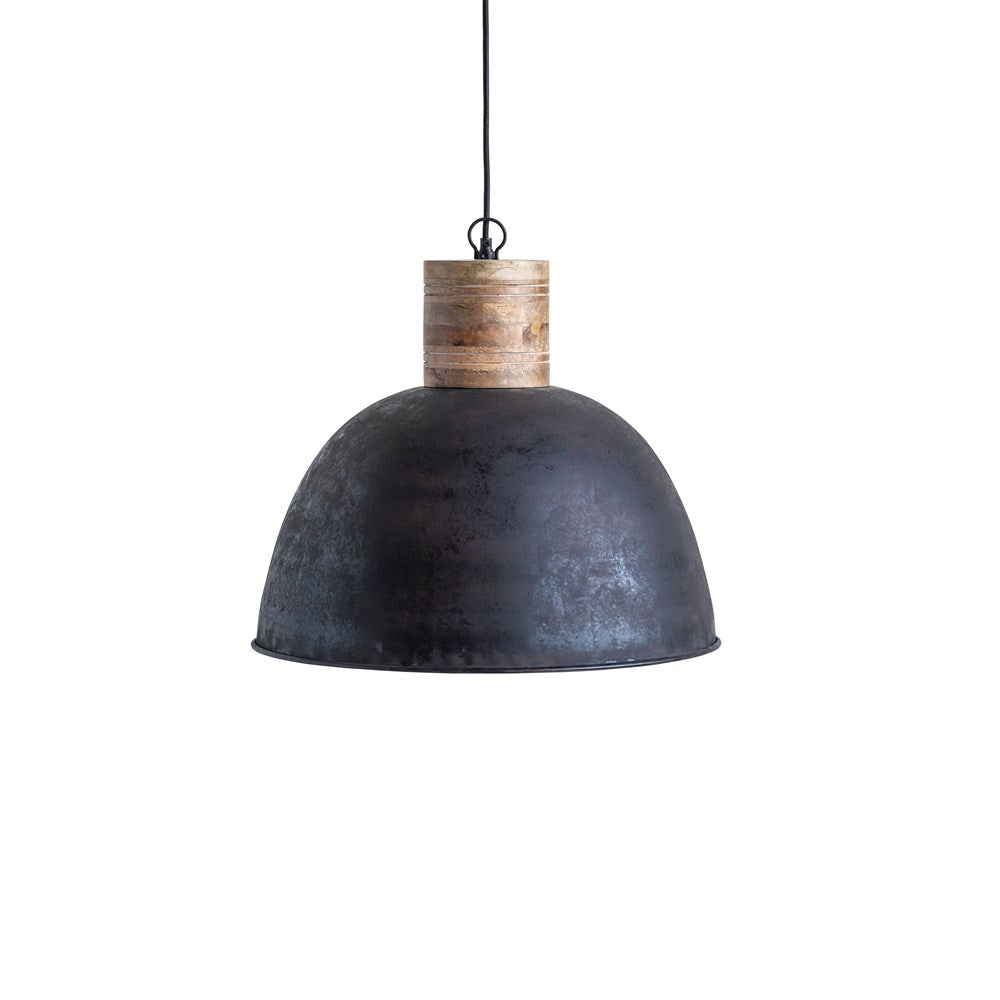 Metal & Wood Pendant Lamp, 6' Cord, Matte Black Finish