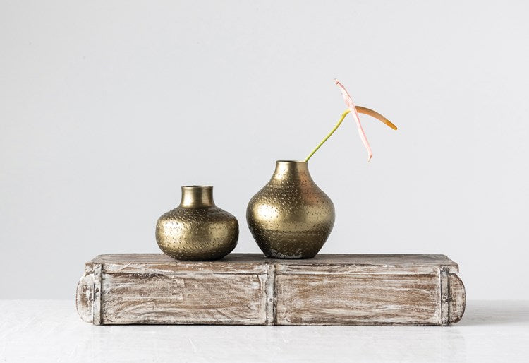 Debossed Metal Vase, Antique Brass Finish