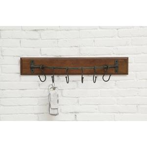 Wood Wall Hanger w/ 6 Attached Hooks