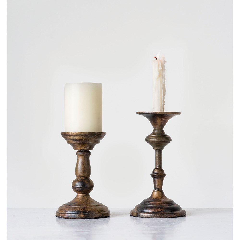 Metal Candle Holder, Brass Finish