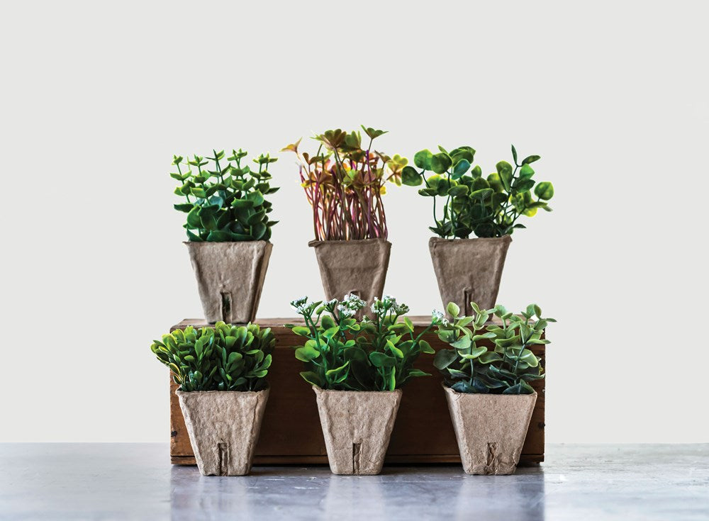Faux Plant in Paper Pot, 6 Styles