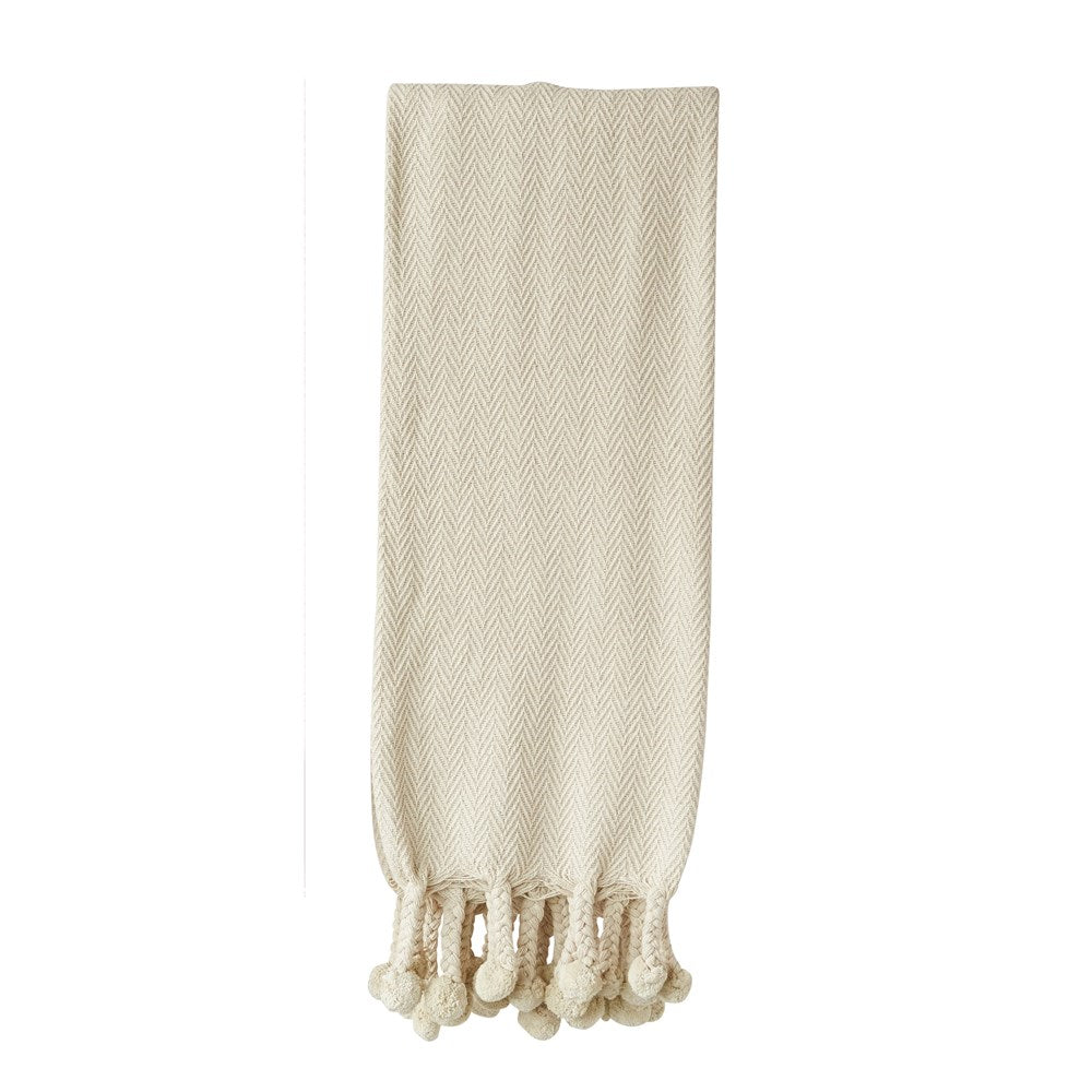 natural beige cotton throw blanket with Pom Pom fringe