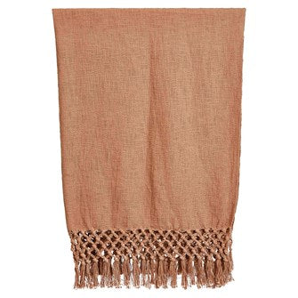 Woven Cotton Throw w/ Crochet & Fringe, Putty Color