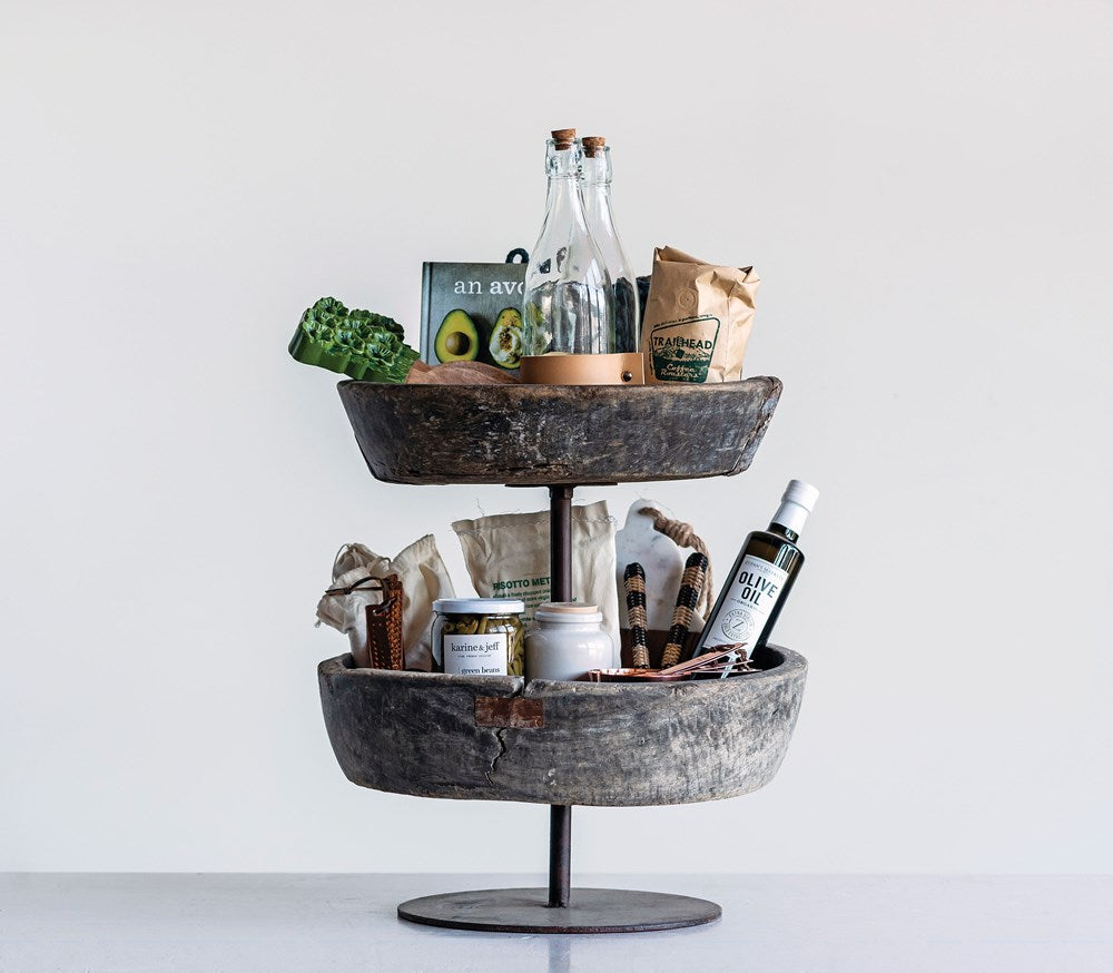Found Decorative Reclaimed Wood & Metal 2-Tier Bowl On Stand