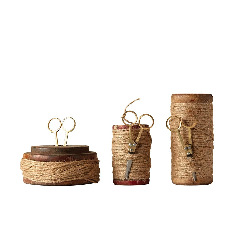 walnut wood, jute and gold scissor spools