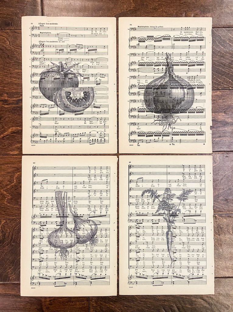 Vegetable Music Sheet Prints