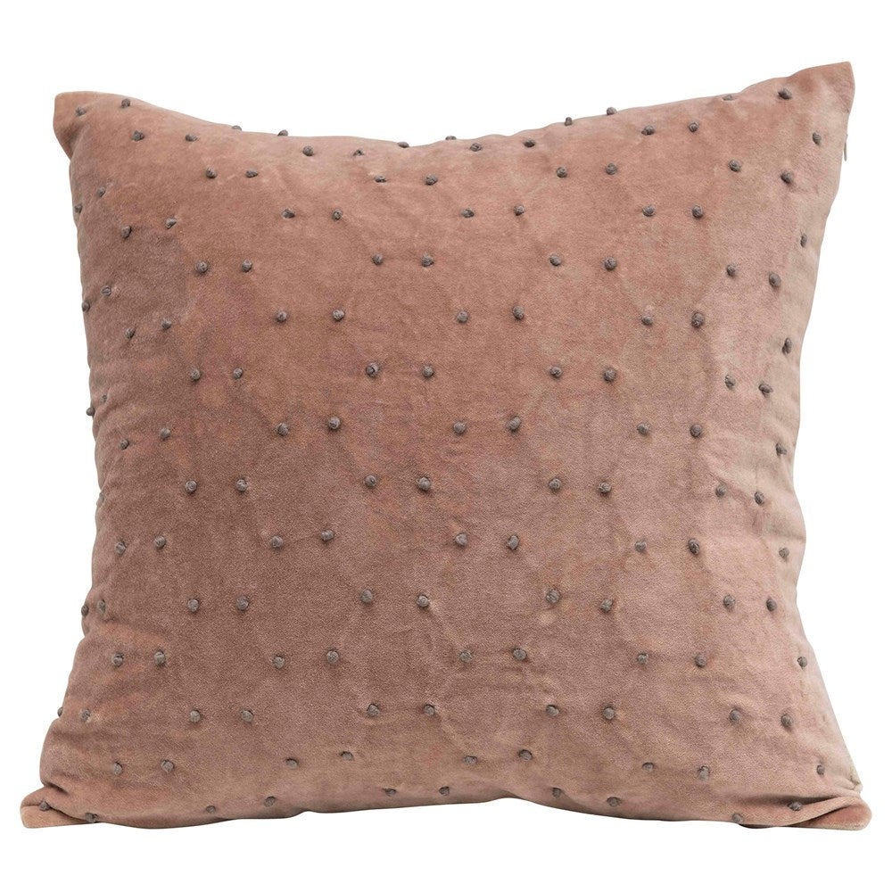 Square Cotton Velvet Pillow w/ French Knots, Taupe