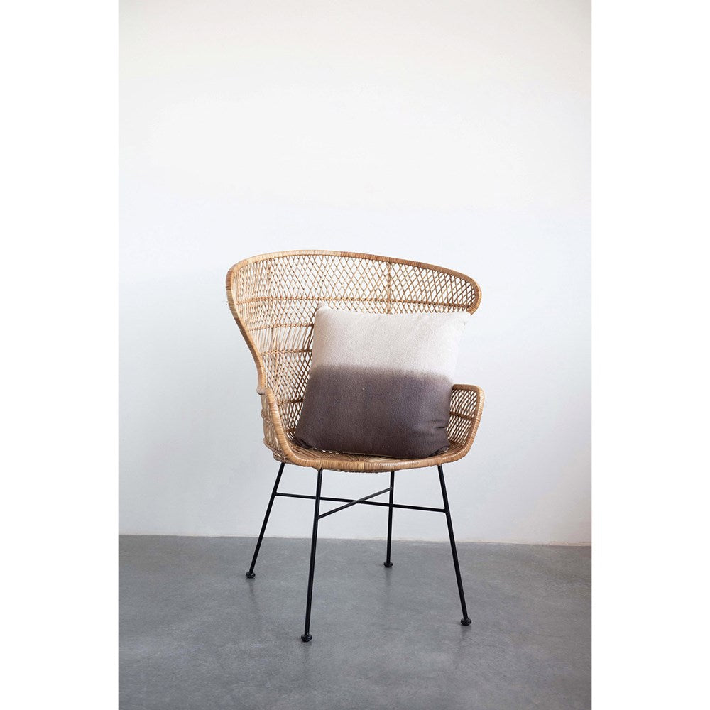 Hand-Woven Wicker & Wrought Iron Chair