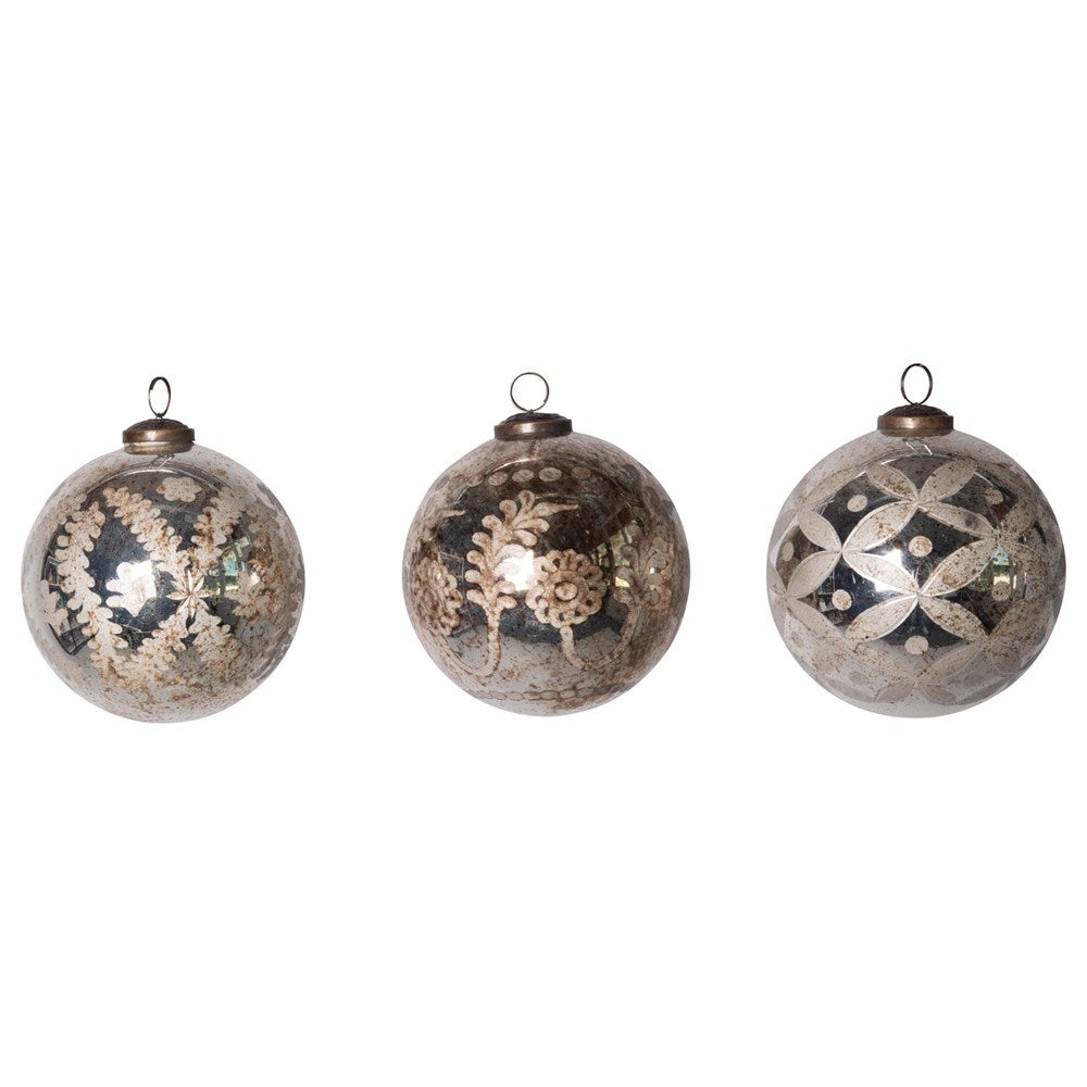 Etched Mercury Glass Ball Ornament, Antique Silver, 3 Styles