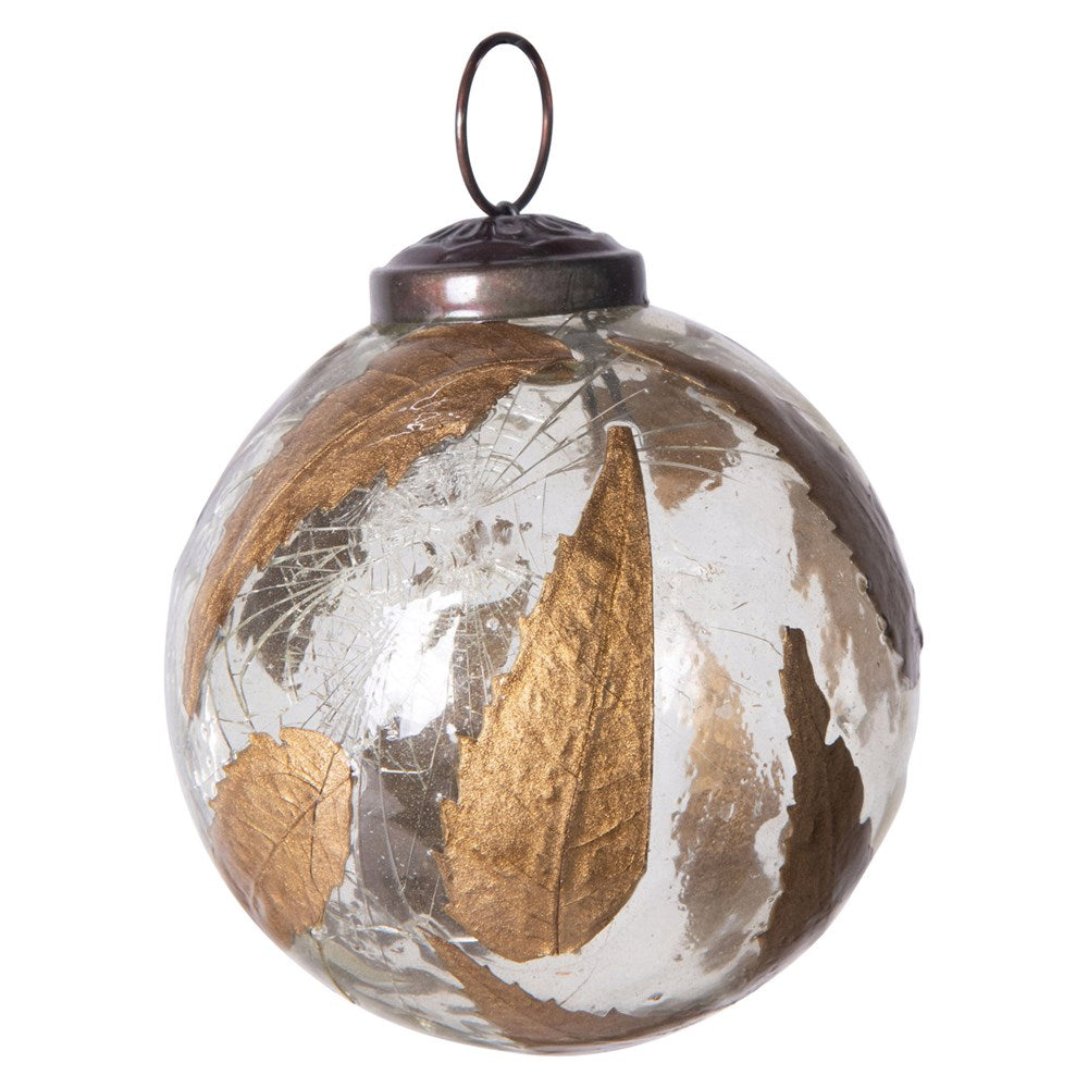Glass Ball Ornament w/ Gold Leaves