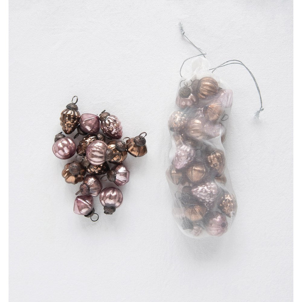 Ornaments, Bronze & Plum Colors, Set of 36 in Organza Bag