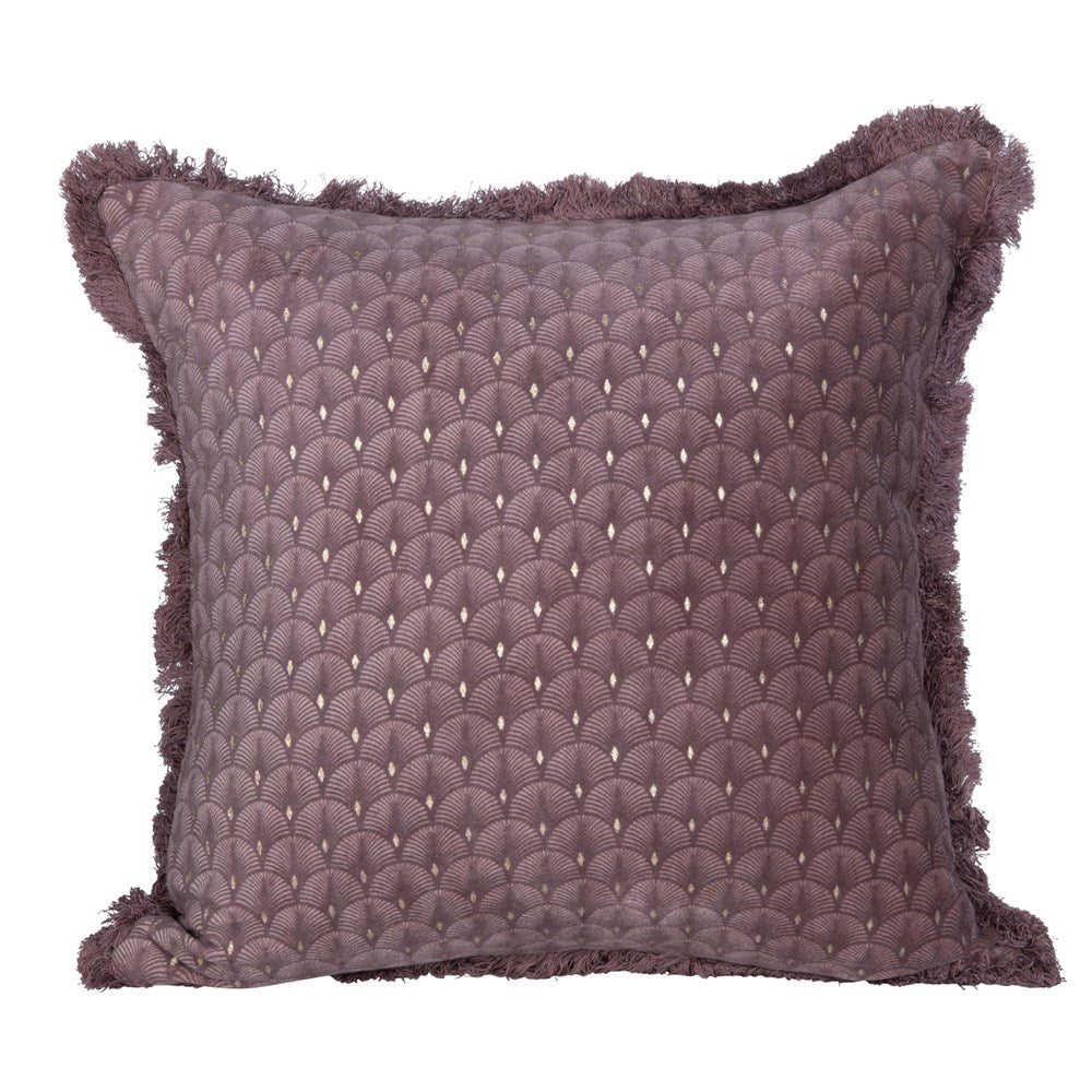 Square Cotton & Velvet Pillow w/ Fringe, Plum Color