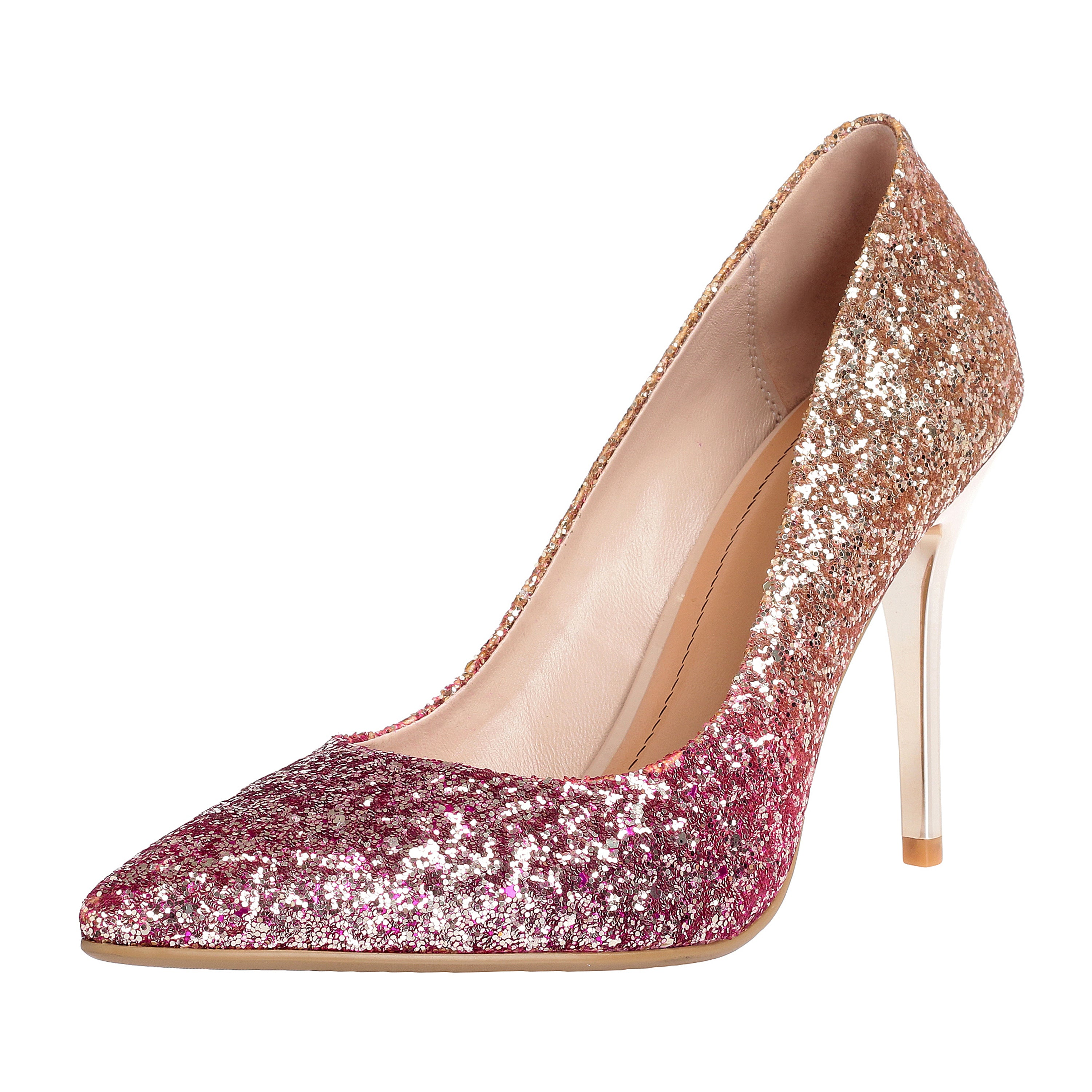 e5725517469c ZAPROMA Women s Pink Gold Glitter Synthetic 4.5 Inches High Heels Shoes  Dress Pumps