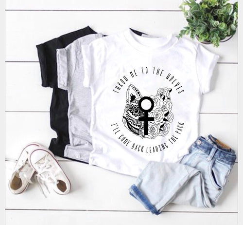 Throw me to the wolves tee shirt - white