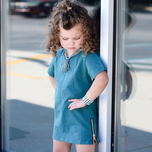 Teal Side Zip Tee
