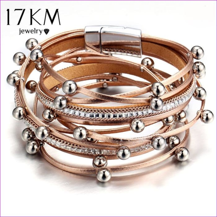 17KM 3 Color Fashion Multiple Layers Charm Bracelet For Women Vintage Leather Bracelets & Bangle Femme Party Jewelry Wholesale - Bracelets