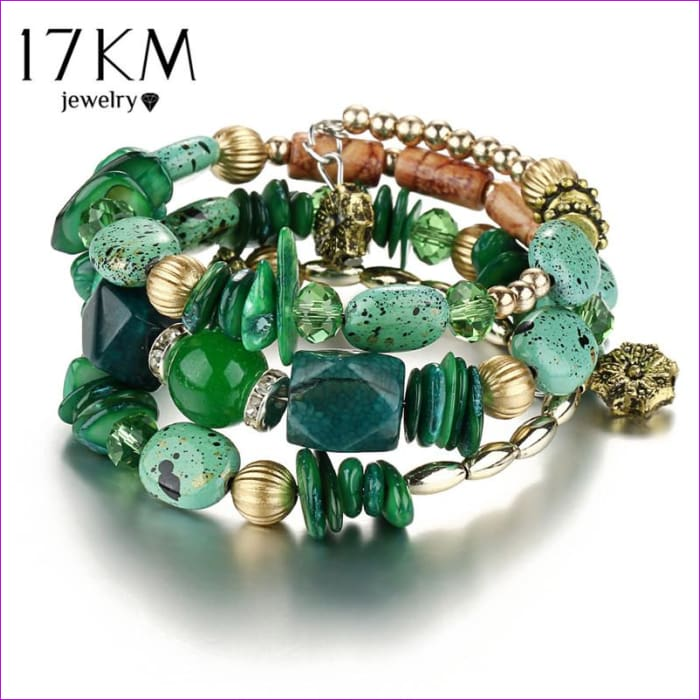 17KM Brand Woman Boho Multilayer Beads Charm Bracelets for Women Vintage Resin Stone Bracelets & Bangles Pulseras Ethnic Jewelry - Bracelets