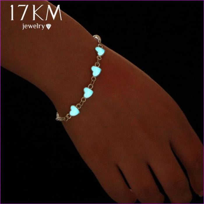 17KM Luminous Heart Pendant Bracelets For Women Pretty Punk Bracelet Lover Bangles Party Fashion Female Bracelet Jewelry Gift - Bracelets