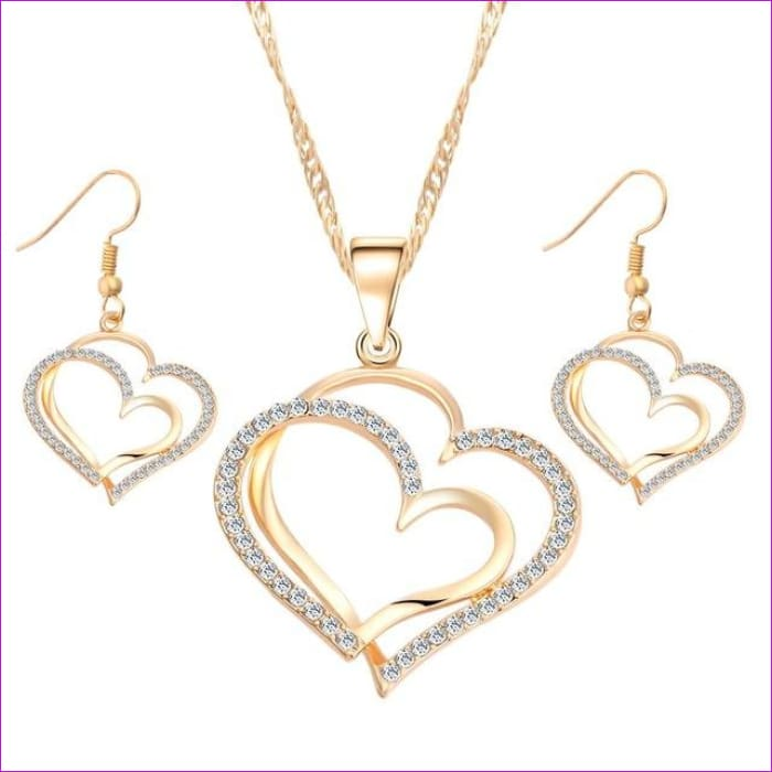 17KM Romantic Heart Pattern Crystal Earrings Necklace Set Silver Color Chain Jewelry Sets Wedding Jewelry Valentines Gift - Gold42C10 -