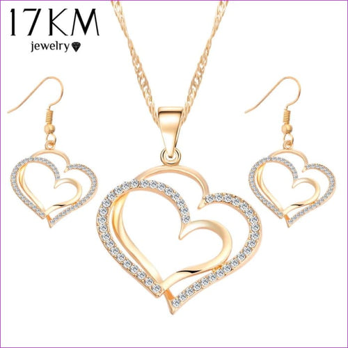 17KM Romantic Heart Pattern Crystal Earrings Necklace Set Silver Color Chain Jewelry Sets Wedding Jewelry Valentines Gift - Jewelry Sets