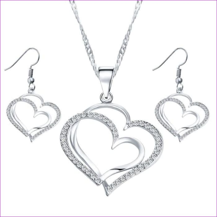 17KM Romantic Heart Pattern Crystal Earrings Necklace Set Silver Color Chain Jewelry Sets Wedding Jewelry Valentines Gift - Silver42C11 -