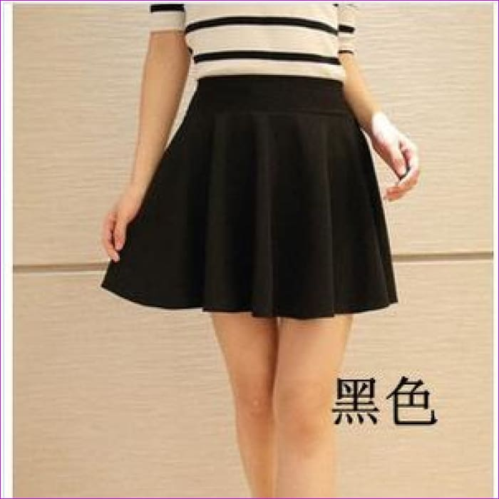 2015 Hot Women Bust Shorts Skirt Pants Pleated Plus Size Fashion Candy Color Skirts 9 Colors C718 - black / One Size - Skirts cf-color-black