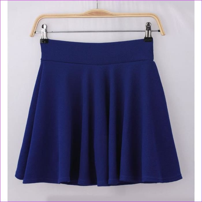 2015 Hot Women Bust Shorts Skirt Pants Pleated Plus Size Fashion Candy Color Skirts 9 Colors C718 - blue / One Size - Skirts cf-color-black