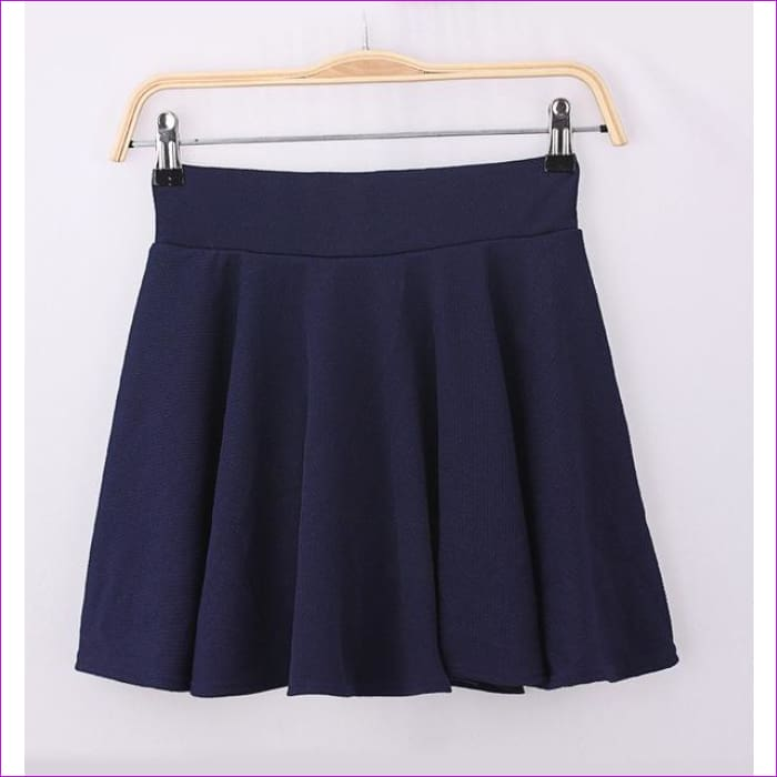 2015 Hot Women Bust Shorts Skirt Pants Pleated Plus Size Fashion Candy Color Skirts 9 Colors C718 - navy blue / One Size - Skirts