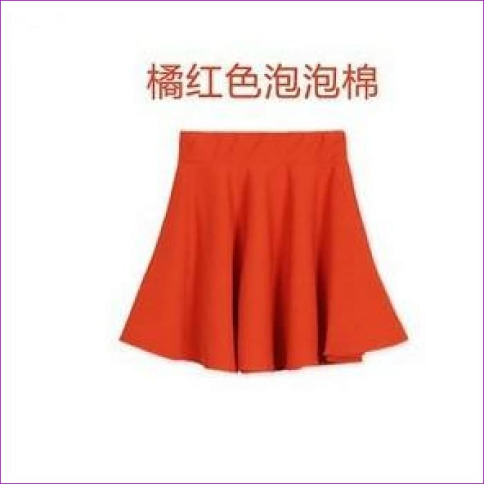 2015 Hot Women Bust Shorts Skirt Pants Pleated Plus Size Fashion Candy Color Skirts 9 Colors C718 - orange / One Size - Skirts