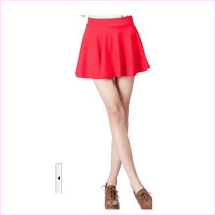 2015 Hot Women Bust Shorts Skirt Pants Pleated Plus Size Fashion Candy Color Skirts 9 Colors C718 - red / One Size - Skirts cf-color-black