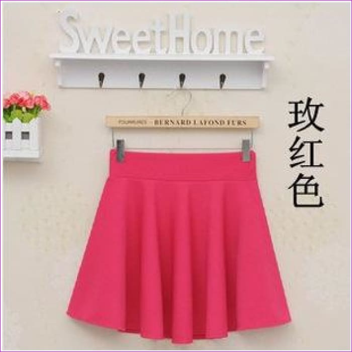 2015 Hot Women Bust Shorts Skirt Pants Pleated Plus Size Fashion Candy Color Skirts 9 Colors C718 - rose red / One Size - Skirts