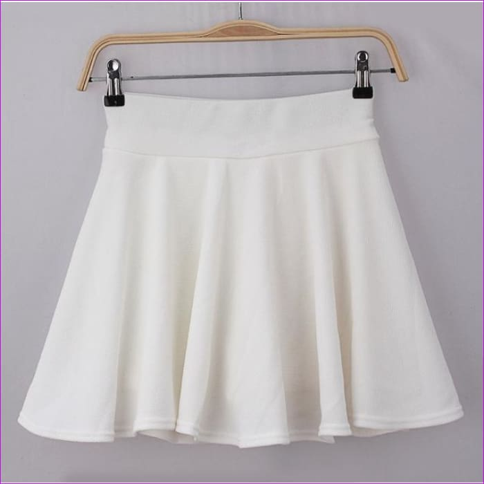 2015 Hot Women Bust Shorts Skirt Pants Pleated Plus Size Fashion Candy Color Skirts 9 Colors C718 - white / One Size - Skirts cf-color-black