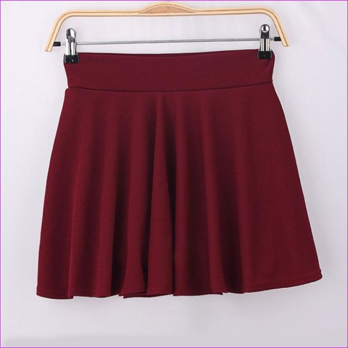 2015 Hot Women Bust Shorts Skirt Pants Pleated Plus Size Fashion Candy Color Skirts 9 Colors C718 - wine red / One Size - Skirts
