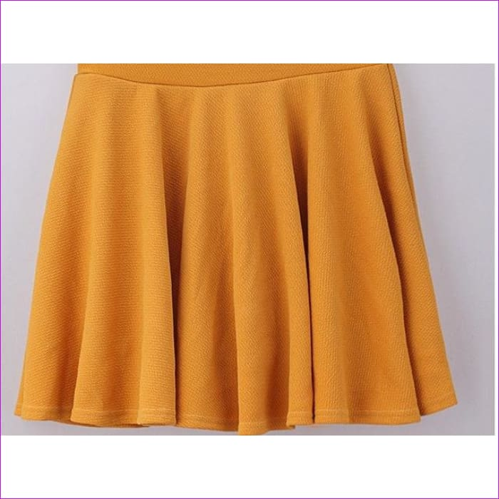 2015 Hot Women Bust Shorts Skirt Pants Pleated Plus Size Fashion Candy Color Skirts 9 Colors C718 - yellow / One Size - Skirts