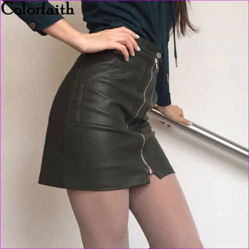 2017 Autumn Winter Women Skirt PU Leather Sexy Mini Skirt With Pockets Zipper A-line Package Hip High Waist Women Clothing SP051 - Skirts