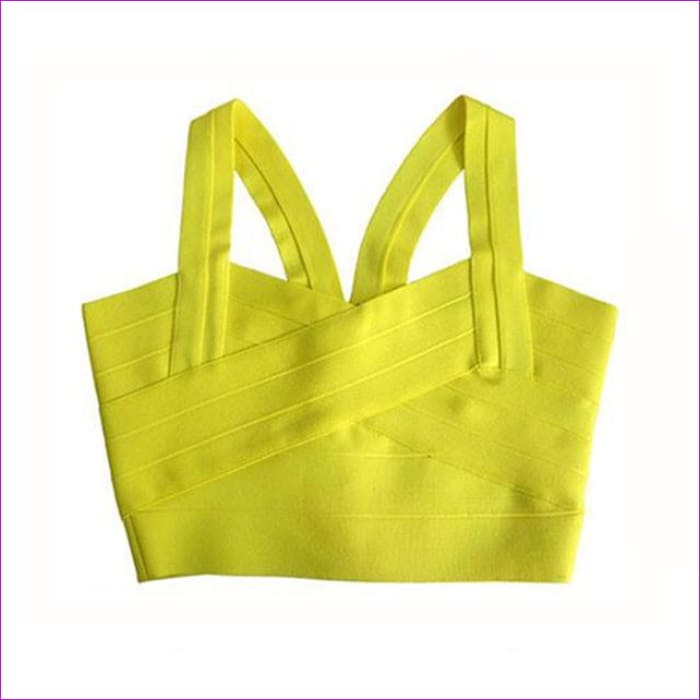 2017 new arrivals womens elastic bandage crop top spaghetti strap busty solid candy color v-neck hot sale EV1529 - yellow style 1 / XS -