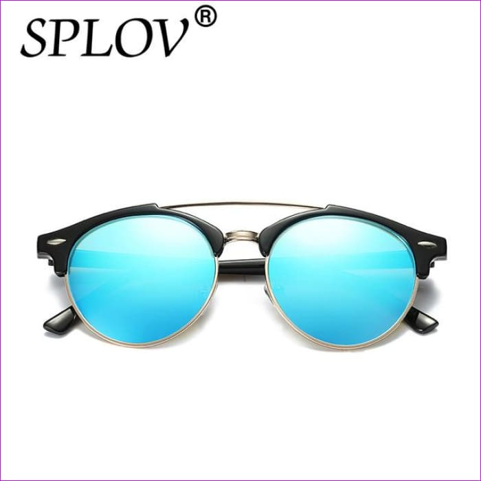 2017 Ray Brand luxury Designer Polarized Aviation Round Sunglasses Men Vintage Retro Glasses Women Driving Metal Eyewear - C06 Black IceBlue