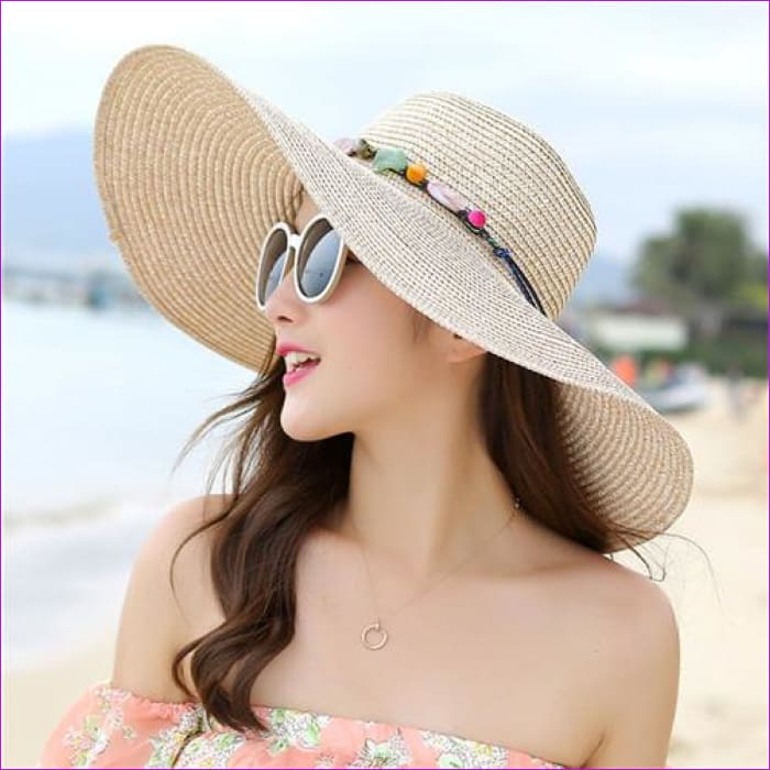 2018 hot big brim sun hats for woman foldable colorful stone hand made straw hat female casual shade hat summer hat beach cap - Beige -