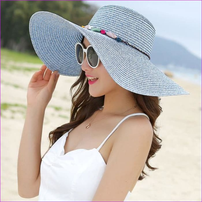 2018 hot big brim sun hats for woman foldable colorful stone hand made straw hat female casual shade hat summer hat beach cap - Blue - Beach