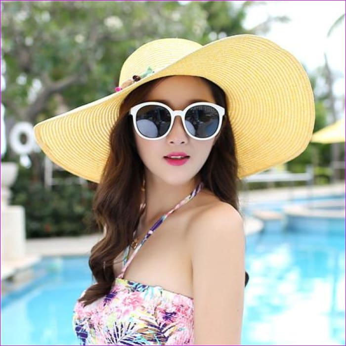 2018 hot big brim sun hats for woman foldable colorful stone hand made straw hat female casual shade hat summer hat beach cap - Gold - Beach