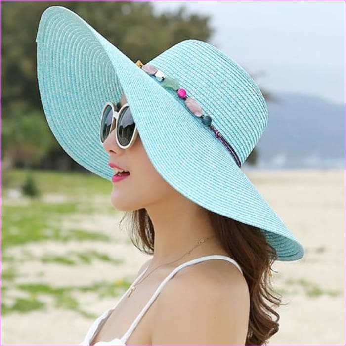 2018 hot big brim sun hats for woman foldable colorful stone hand made straw hat female casual shade hat summer hat beach cap - Sky Blue -