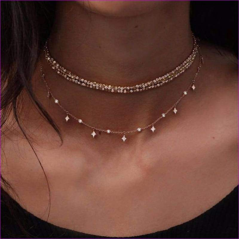 2018 Hot!Summer Gold Silver Color Choker Necklace For Women Boho Bead Chain Link Crystal Pendant Multi Layer Pendant Necklace - Chockers