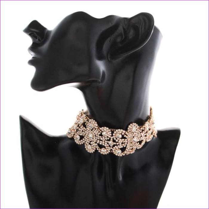 2018 Luxury Hollow Flower Crystal Rhinestone Choker Collar Women Gold Silver Chain Necklace Statement Wedding Jewelry for Party - gold 2 -